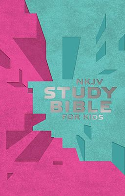 NKJV Study Bible for Kids--soft leather-look, pink/teal