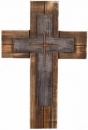 "Double Nail Wood 16"" Wall Cross"