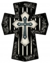 "Black and White Stripes 10"" Wall Cross"