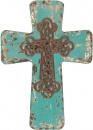 Vintage Distressed Wood Cross - Blue
