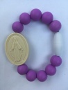 Purple Kids Miraculous Medal Bracelet