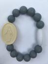 Grey Adult Miraculous Medal Bracelet