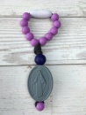 Purple Miraculous Medal Decade Clippie