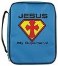 Jesus, My Superhero Bible Cover (Blue Canvas, Large)