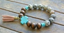 """Blair"" Wooden, Spot, and Turquoise Cross Bracelet"