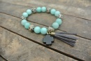 """Alba"" Aqua, Spot, and Black Cross Bracelet"