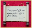 Scripture Scroll Ornament: James 1:17