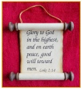 Scripture Scroll Ornament: Luke 2:14