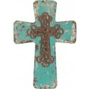 Vintage Distressed Wood Cross - Blue